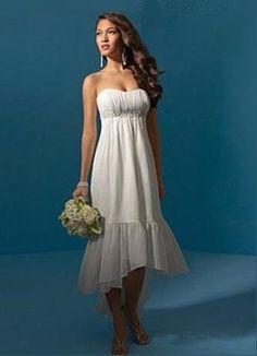 Simple Strapless Chiffon High-Low Casual Wedding Dress