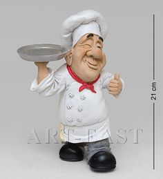 Chef with tray Fat Chef Kitchen Decor, Kitchen Art, Paper Mache Clay, Paper Clay, Popsicle Stick Crafts, Craft Stick Crafts, Cartoon Chef, Plastic Bag Holders, Clay Baby