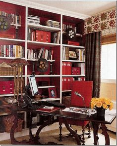 oxblood accents - perfect for a home library