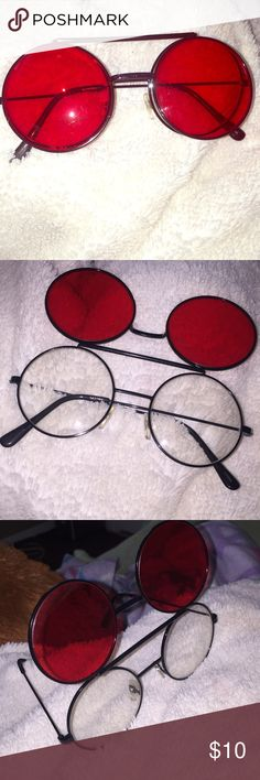 Red & Black Flipped Sunglasses Perfect condition. Never worn. Accessories Sunglasses