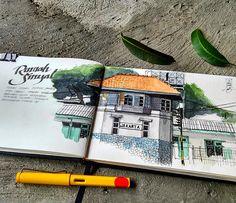 rumah sinyal (railway signal house). ink + watercolor on A5 watercolor book.