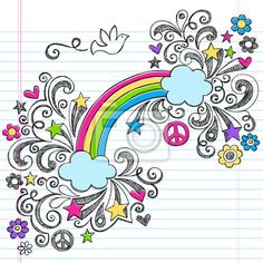 Choose a wall mural notebook, art, happy - rainbow, dove, and peace sign sketchy notebook doodles vector. PIXERS wall murals made of great fabrics. Choose artistic photos from our catalog.