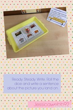 Roll the dice and write a sentence for the picture you land… Nursery Activities, Phonics Activities, English Writing, Teaching English, Writing Area, Writing Table, Jack And The Beanstalk, Early Reading, Sentence Writing