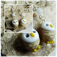 Polymer clay/fimo Owl earrings Tutorial - Eulen Ohrringe Anleitung