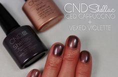 Mani Monday: CND Shellac Layering Combos - Iced Cappuccino and Vexed Violette Curls N Pearls Cnd Shellac Layering, Shellac Colors, Shellac Nail Polish, Shellac Manicure, Pretty Nail Colors, Pretty Nails, Iced Cappuccino, Happy Nails, Creative Nail Designs
