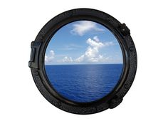 Gloss Black Decorative Ship Porthole Window 20""
