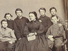 Great Civil War Era CDV Teacher and Her Students New Haven Ct Crisp | eBay