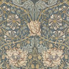 William Morris ~ Honeysuckle custom wallpaper by peacoquettedesigns for sale on Spoonflower William Morris Tapet, William Morris Wallpaper, Morris Wallpapers, Custom Wallpaper, Antique Wallpaper, Bird Wallpaper, Fabric Birds, Wall Fabric, Origami Bird