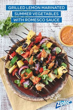 Great vegetarian recipe. Marinate summer veggies in a gallon size Ziploc® bag and then grill for a perfect warm weather meal. Fresh, light and full of flavor! Plus, the vegetables are served with romesco sauce, yum! This healthy recipe has only 4 steps—perfect for your next BBQ!