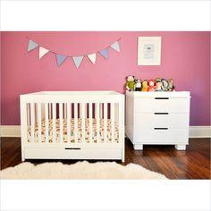 Babyletto Mercer 2 Piece 3 in 1 Convertible Crib Set in White - M6801W-M6723W-PKG
