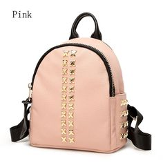 2016 spring and summer fashion rivets backpack shoulder bag ladies soft leather leisure bag lady