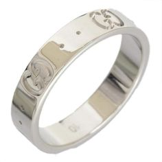 gucci 18k white gold icon ring us size 525
