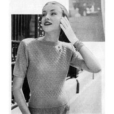 This knitting pattern will assist you in making a lacy blouse with boat neck and short sleeves.   You'll want to make several in your favorite colors.   Misses size 12, 14, 16