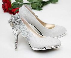 """Elegant Series"" Vogue Lace Flowers / Crystal High Heels Wedding Bridal Shoes"