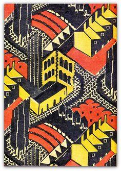 1930 block-printed linen furnishing fabric, 'Welwyn Garden City', designed by Doris Gregg for Footprints Ltd.