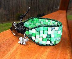 Mosaic Tile Wide Wrap - Green - Australian Jasper  | GemOnAWire - Jewelry on ArtFire