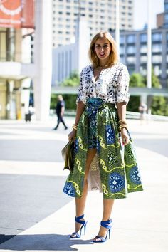 Green/Blue Ankara print fabric skirt