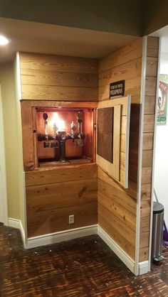 There's a little beer garden in the summertime. Whatever kind of beer you drink, make sure you offer good head on every glass of beer. This one is an easy and inexpensive decor project that you could make in under… Continue Reading → Home Bar Setup, Beer Decorations, Indoor Bar, Wall Taps, Home Brewery, Modern Basement, Beer Taps, Basement Remodeling, Basement Ideas