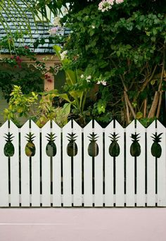 Some people dream of owning their own home with a white picket fence. I dream of owning a home with a Pineapple picket fence. Deco Nature, Outdoor Living, Outdoor Decor, Coastal Homes, Southern Homes, Fence Design, Garden Gates, Interior Exterior, Beach Cottages