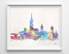Dublin Skyline Ireland Watercolor Poster Leinster by InkistPrints, $11.95 - Shipping Worldwide! [Click Photo for Details]