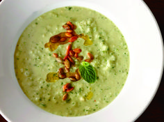 Chilled Cucumber-Avocado Soup With Smoked Pumpkin Seeds