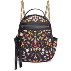 Alexander Mcqueen Small obsession print satin chain backpack (£1,165) ❤ liked on Polyvore featuring bags, backpacks, black, satin bags, chain strap backpack, alexander mcqueen bags, backpack bags and chain bag