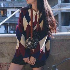 2016 Brand Women Geometric Pattern Knitted Sweater Ladies Vintage Long Sleeve Ca