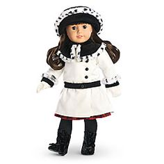 Samantha's Fancy Coat Set       A warm, soft coat with a drop waist, smart black buttons on the side, and a velvet bow on the waistband     A cozy velvet hat, which has fancy faux-fur trim to match the coat's collar     Dainty white gloves Z