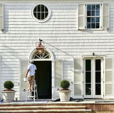 Instagram White Shutters, Outdoor Decor, Fresh Paint, Wall Treatments, Cottage Homes, Cottage House Exterior, White Paints, Crystal Beach, Exterior
