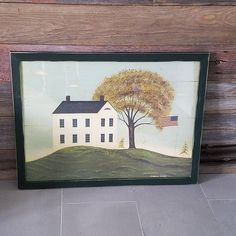 Big Folk Art House print, Warren Kimble art. Modern country House with flag, distressed frame country folk art.