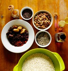 All the ingredients needed for my homemade granola recipe!