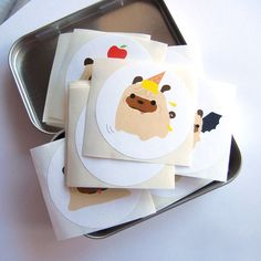 Pug Stickers  Set of 100 BallZ the Pug Stickers Mix by maustudio