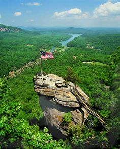 Chimney Rock is the natural fulfillment of your trip to the North Carolina mountains. Take a deep breath of refreshing mountain air, become invigorated by our hiking trails, and let your cares fade away in the cool mist of Hickory Nut Falls.