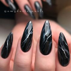 Elegant Marble Nails Tutorial With Classic Black ❤ Marble Nails: Easy Way To Create Trendy Manicure ❤ See more ideas … Black Marble Nails, Marble Nail Art, How To Marble Nails, Nail Black, Black Manicure, Pink Marble, Goth Nails, Grunge Nails, Tribal Nails