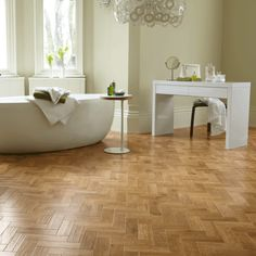 Introduce character and detail into your space with the Morning Oak Parquet from the Art Select Range at Pearson Floorings, approved suppliers of Karndean. Vinyl Flooring Bathroom, Bathroom Vinyl, Luxury Vinyl Flooring, Luxury Vinyl Tile, Vinyl Tiles, Kitchen Flooring, Family Bathroom, Bathroom Ideas, Parquet Tiles
