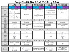 Mon emploi du temps pour le CE1/CE2 - L'école de Crevette