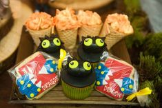 Toothless cupcakes from a How to Train Your Dragon Birthday Party on Kara's Party Ideas   KarasPartyIdeas.com (43)