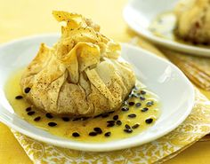 Guava and Manchego Phyllo Pouches with Passion Fruit Syrup/If you like guavas you have to try this recipe-wow