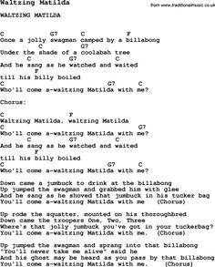 Song Waltzing Matilda, with lyrics for vocal performance and accompaniment chords for Ukulele, Guitar Banjo etc.