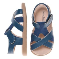 Unisex Blue Strap Leather Toddler Sandals