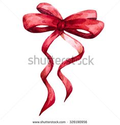 watercolor illustration red bow, ribbon, christmas bow