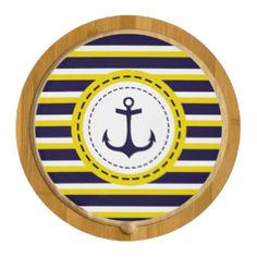 Nautical Navy Blue Yellow Stripes Anchor Design Cheese Board $63