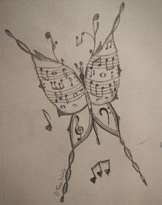 The musical butterfly art sketches, cool art drawings, music drawings, amaz Music Drawings, Cool Art Drawings, Drawing Sketches, Simple Drawings, Amazing Drawings, Realistic Drawings, Beautiful Drawings, Drawing Ideas, Pencil Art