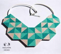 Geometric felt necklace by SquareMess on Etsy