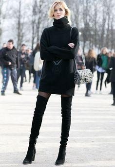 anja rubik black sweater dress over the knee street style