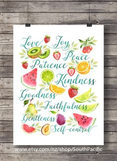 Galatians 5:22 | The Fruit of the Spirit | Fruit salad summer watercolor | typography fruit Scripture print | Instant download