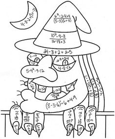Order of Operations Color by Number Halloween Witch. Have kids create a colored question drawing for other students in the class and then pass them to a partner! Fun to do and they can learn math! This can be done at any age group! Math 5, Teaching Math, Math Resources, Math Activities, Math Games, Camping Activities, Fifth Grade Math, Math Graphic Organizers, Order Of Operations