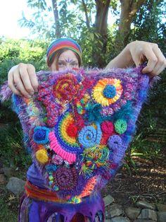 OOAK Freeform Crochet Bag you pick colours by Twizzlez on Etsy Freeform Crochet, Crochet Art, Irish Crochet, Crochet Flowers, Crochet Hooks, Free Crochet, Crochet Patterns, Crochet Ideas, Rainbow Crochet