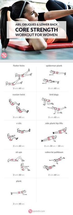 Challenge your abs, obliques and lower back with these core strengthening exercises. A thorough core workout routine designed to transform your midsection. www.spotebi.com/...