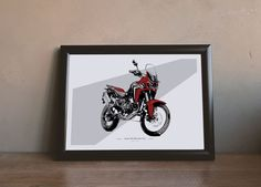 Honda CRF 1000L Africa Twin - Illustration by MSaHomeDesign on Etsy